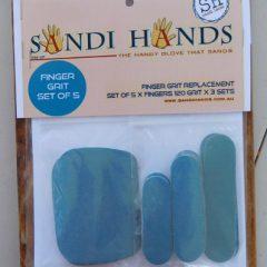 Schuurpapier met losse vingers en handpalm voor schuurhandschoen