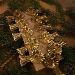 Set goudkleurige kertboomkaars knijpertjes
