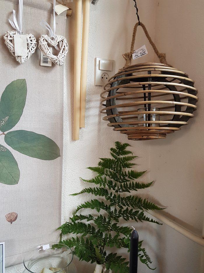 Hangend bamboe windlicht