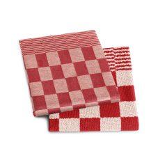 Rood geblokt keuken doeken set