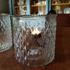 Windlicht geblokt glas