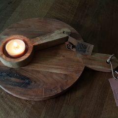stoere houten kandelaar